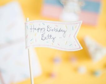 Happy Birthday Personalised Cake Flag Topper