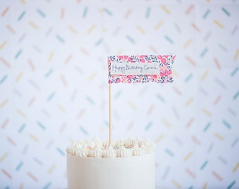 Personalised birthday cake topper flags by Jane Kent Studio