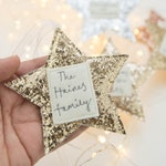 Personalised sparkly family star decoration
