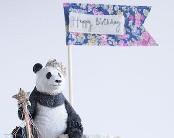 Happy birthday message flag, birthday cake topper by Jane Kent Studio.