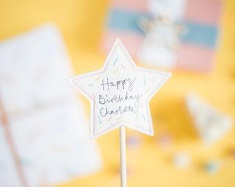 Personalised Star Birthday Cake Topper