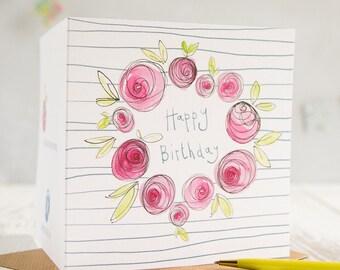 Happy Birthday Card, Pink card, Pink Flower Birthday Card
