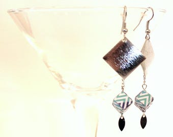 Blue Green cube earrings