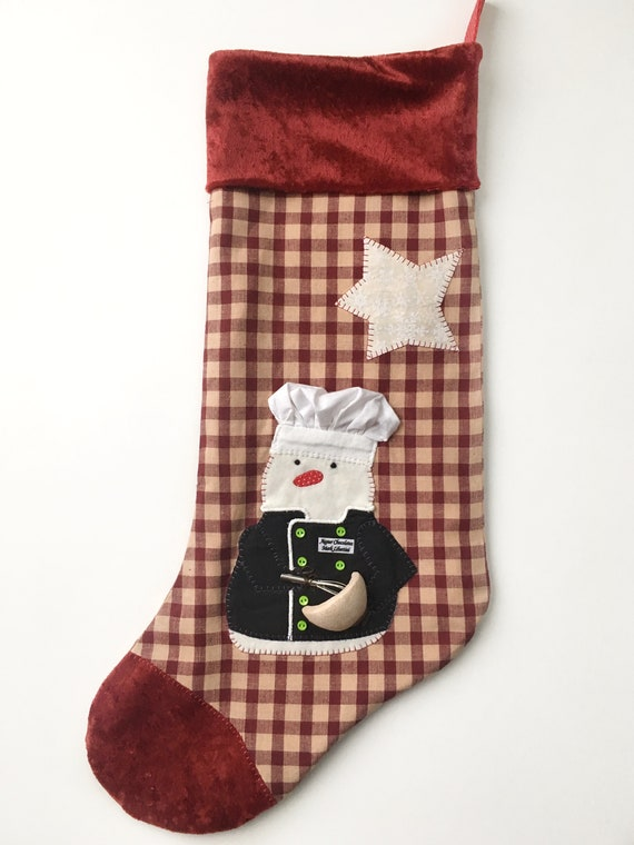 Chef Christmas Stocking Baker Christmas Stocking Etsy