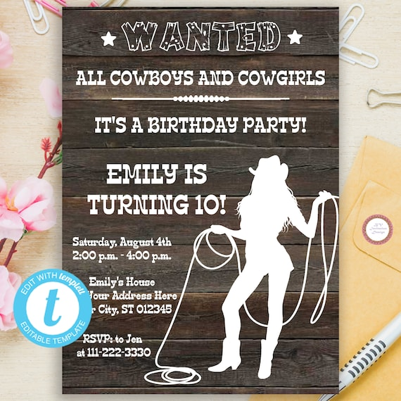country western birthday party invitation template instant etsy