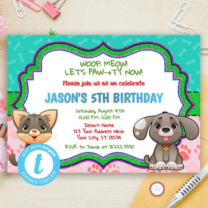 89b0b3fc0 Puppy Kitten Birthday Invitation Digital Puppy Party Invite | Etsy