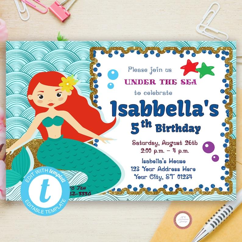 0e3af544e Under The Sea Birthday Invitation Editable Mermaid Birthday | Etsy