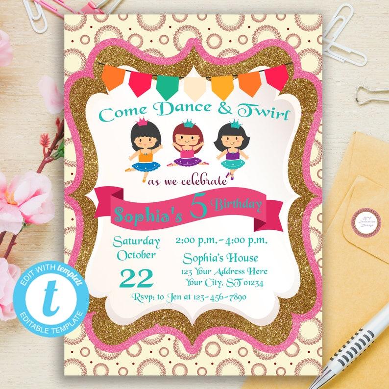 725d1b85c Digital Printable Ballerina Birthday Invitation Editable | Etsy