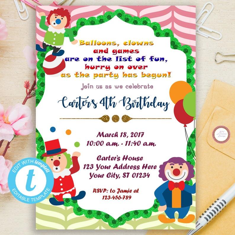 Circus Clown Birthday Invitation Editable Circus Birthday Etsy