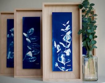 Handmade gifts, original Cyanotype, botanical art, decoration, boho wall decoration, unique art print, botanical print,