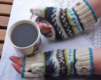Alpaca wool fair isle fingerless mittens