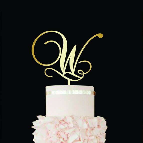 W \u0421ake topper W Rustic wedding Cake Topper wood Personalized wedding cake toppers W Gold Initial cake topper single letter cake topper W