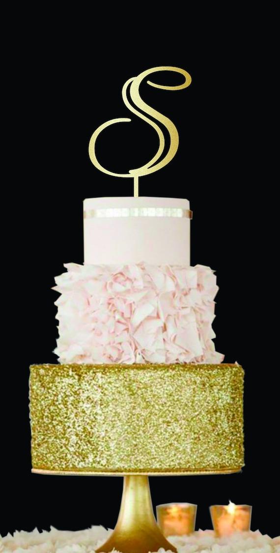 S Letter Cake Topper S Monogram Cake Topper Wedding Cake | Etsy