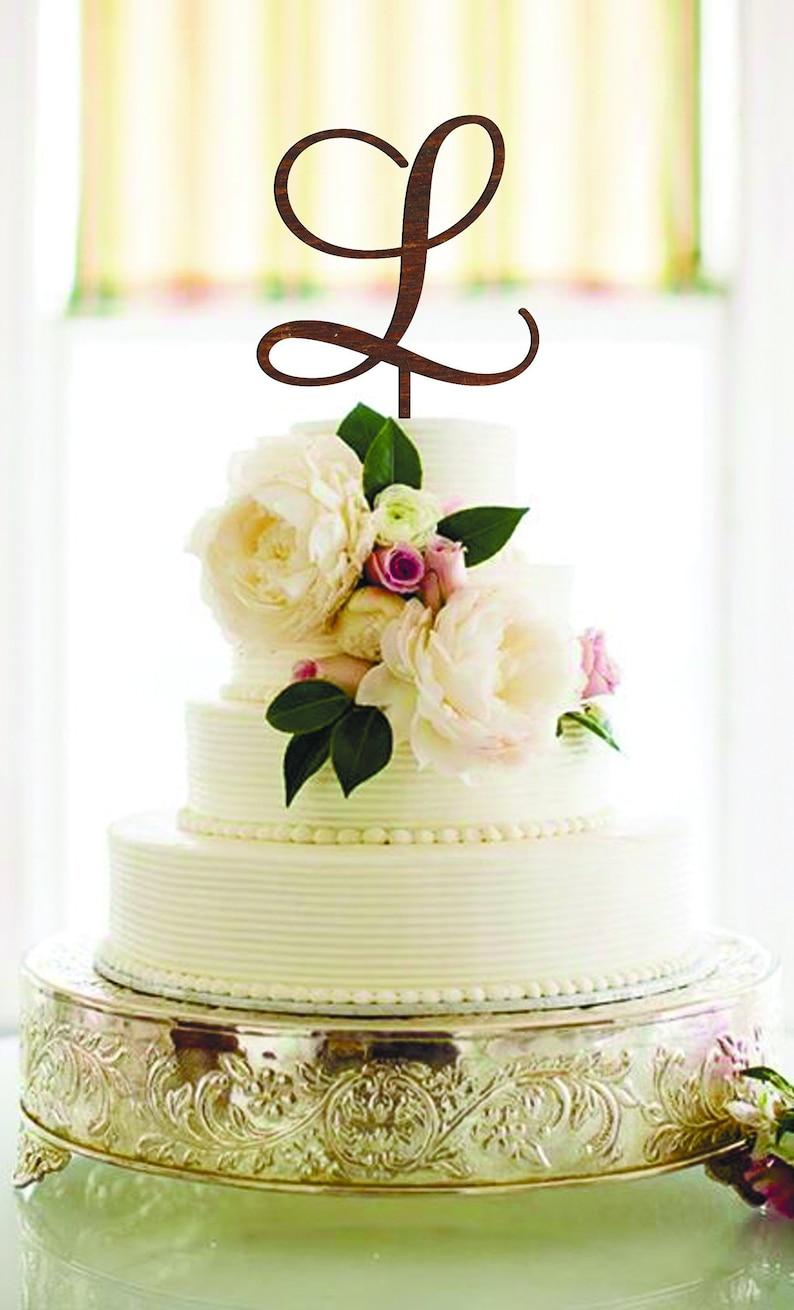 Wedding Cake Topper Letter L Cake Topper Unique Cake Topper Gold Monogram Cake Topper Initials Wood Letter L Cake Topper Single Letter L H O