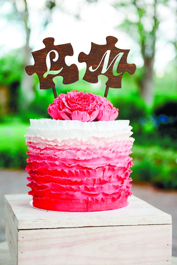 Cake Topper Puzzle M Letter L Cake Topper Wedding Cake Toppers Etsy