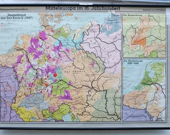 """German vintage school wall map """"Central Europe in the 16th century"""""""