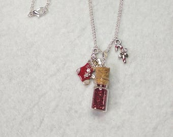 Christmas red vial necklace