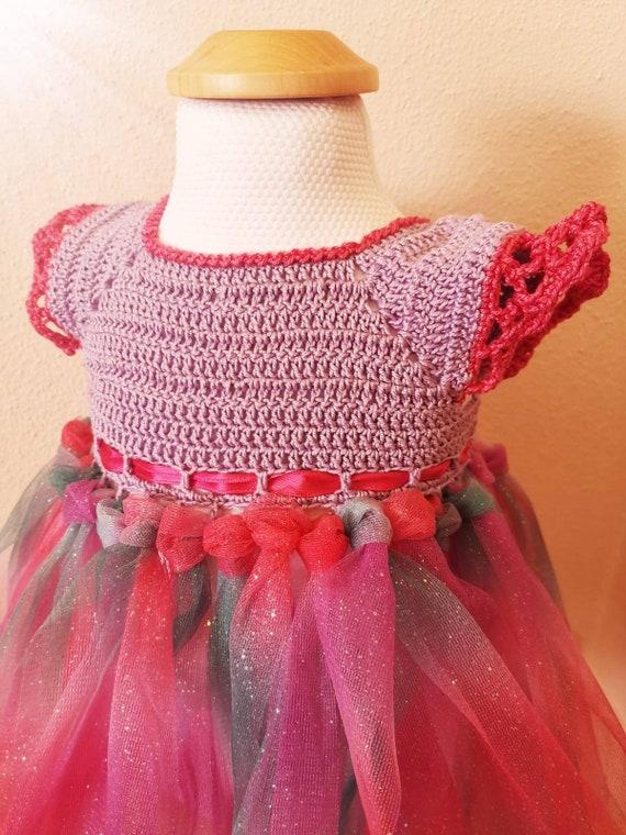 3638 handmade Purple crochet dress t