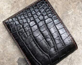 Crocodile Reptile Pattern Genuine Leather Stamped Grain Bifold Mens Wallet ID
