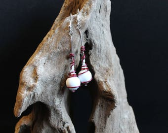 Fancy Red, Burgundy and white earrings