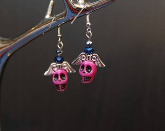 Earrings Gothic fantasy, lolita, pink skull and wings