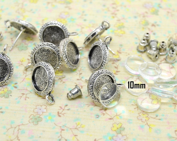 silver chip 10 earrings 10mm round metal rod holder glass cabochon tray