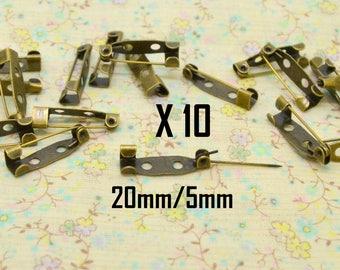 10 x 20mm bronze fashion metal pin / 5mm