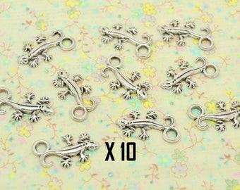 10 charms, lizard, gecko, silver, 22mm / 12mm