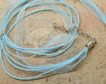 1 x Choker 42cm blue + silver plated bail