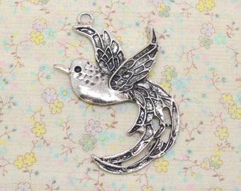 1 bird pendant, XL-size charm, silver metal