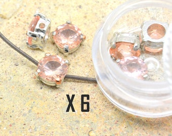6 x rhinestone Pink CZ and silver plated 8 mm