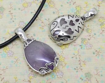 1 x fine Amethyst precious stone silver plated drop pendant gemstone purple