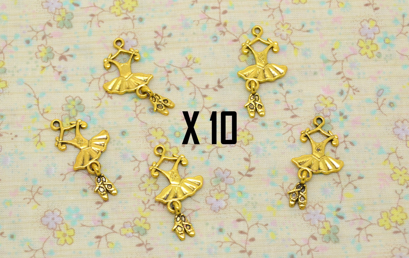 10 charms tutu dance, dancer, ballet shoe bow, held in gold metal