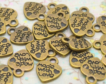 20 or 100 heart charms, text, made with love, bronze metal