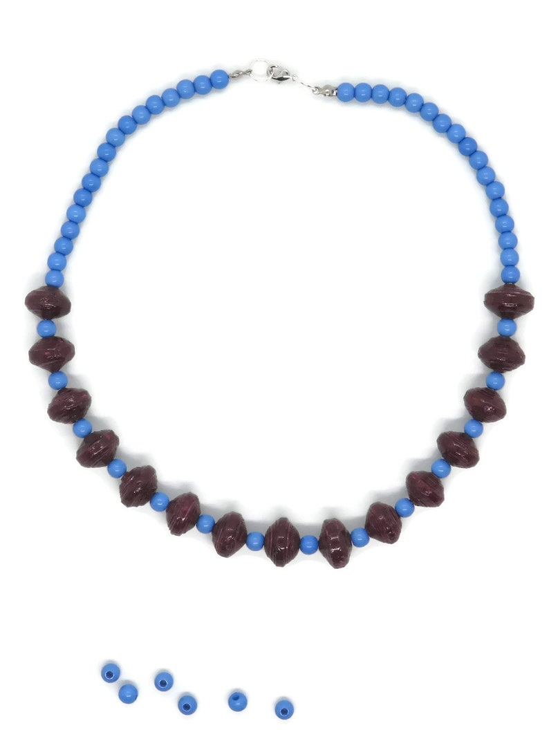 chunky paper bead choker maroon colors gold Bold contemporary statement necklace silver blue sustainable eco-friendly jewelry purple