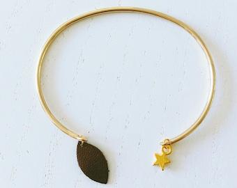 Bracelet Jonc métal doré et cuir marron métallisé - Agathe et Ana