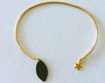 Bracelet Jonc métal doré et cuir noir - Agathe et Ana