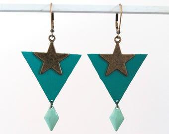 Boucles d'oreilles Rosa - Cuir vert et métal bronze - Agathe et Ana