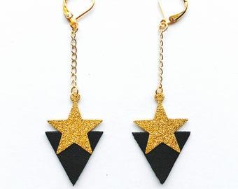 Boucles d'oreilles Stardust - Cuir noir et métal doré à paillettes - Agathe et Ana