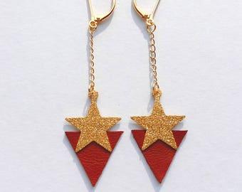 Boucles d'oreilles Stardust - Cuir bordeaux et métal doré à paillettes - Agathe et Ana