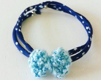 Bracelet Nœud Coton Bleu - A nouer - Agathe et Ana