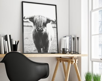 PRINTABLE Bull Black And White Print Poster Nature Wall Decor Photo Art Animal Photography Cool Home Housewarming