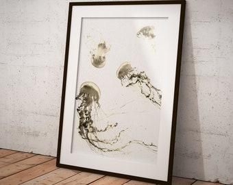 Jellyfish Print, Jellyfish Poster, Ocean Print, Wall Art Decor, Nature Print, Beach Decor, Sea Print, Coastal Decor, Jellyfish Wall Decor