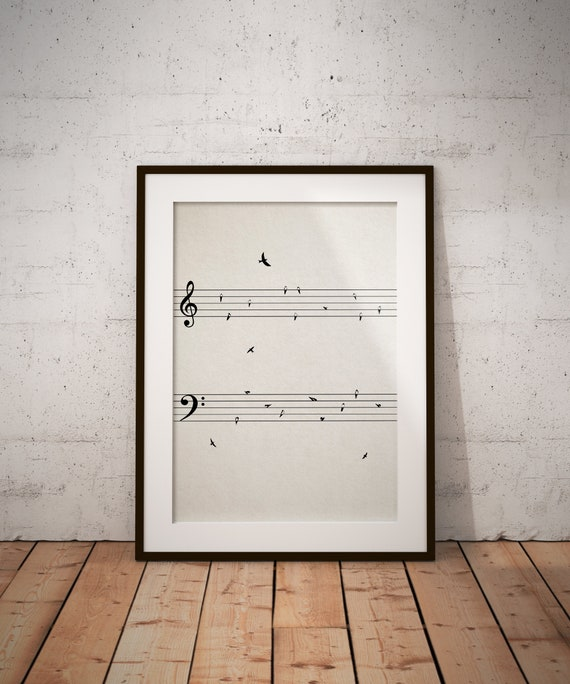 Music Score with Birds PRINTABLE ART Wall Decor Music | Etsy