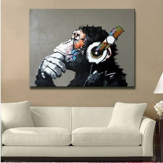 Monkey Home Decor | Hand Painted Oil Painting Of Gorilla Monkey Home Decor Etsy