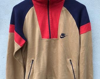732aaf4822 Vintage Nike Orange Tag Pullover Jumpers Halfzip