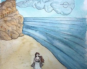 "Card watercolor Beach - series ""dreams of children"" A6 * watercolor card The beach ""Childrens' dreams"" collection - A6 *."