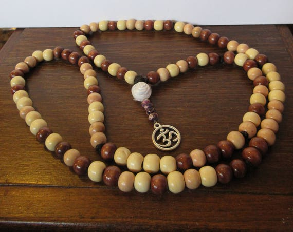 Mala - 108 bead necklace with Om and white rose