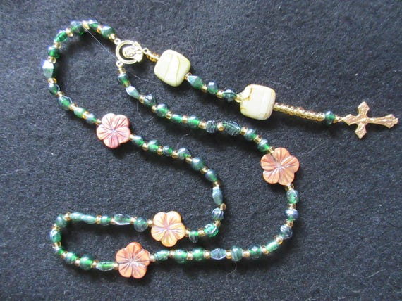 Rosary Beads Green with Flowers