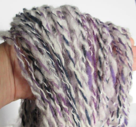 Above My Pay Grade - Handspun Art Yarn, Loose, Wool, 2 ply, Purple, Gray, White, Black